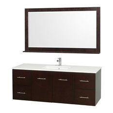 "Wyndham Collection 60"" Centra Espresso Single Vanity With Square Porcelain Sink"