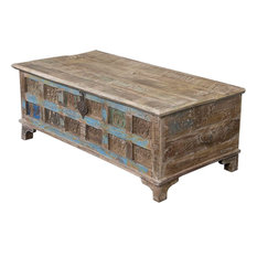 Coast to Coast Imports, LLC - Accent Trunk Cocktail Print Block, Reclaimed Wood - Coffee Tables