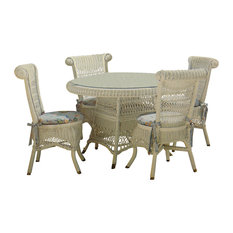 Classic 5-Piece Dining Set in White, Solar Kiwi Fabric