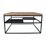 Foursquare Coffee Table, Black, Oak