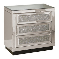 Sylas 6 Drawer Silver Crystal Mirrored Nightstand