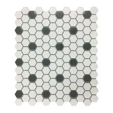 "Mosaic Hexagon Matte White and Black Tile 23 Sheets 10.25"" x 11.8"" 19.3 SQFT"