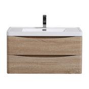 """Eviva Smile Chestnut Wall Mount Vanity, White Integrated Sink, White Oak, 36"""""""