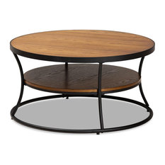 Baxton Studio Brown Finished Wood And Black Finished Metal 1-Shelf Coffee Table