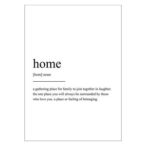 Home Definition Scandinavian Style Typography Print, A3