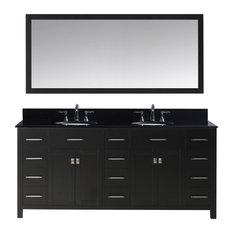 72-inch Double Bath Vanity In EspressoBlack Galaxy Granite TopSinkFaucetMirror