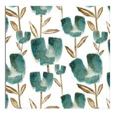Turquoise Tulips, Cotton Linen Fabric