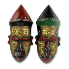 Novica Akan Chief I African Wood Masks, 2-Piece Set