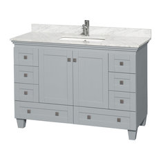 "Acclaim Oyster Gray Vanity, 48"", White Carrera Marble, Undermount Square"
