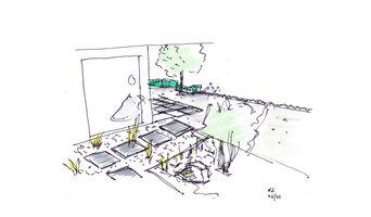 Minimalistischer Privatgarten