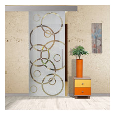 """Frameless Sliding Glass Barn Door /  Semi Private Frosted Designs, 32""""x81"""" Inche"""