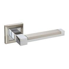 Ultra Modern Square Rose Door Handles, Duo Chrome Finish