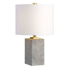 Delightful Uttermost   Drexel One Light Table Lamp Lightly Stained Concrete/Brushed Go    Table Lamps