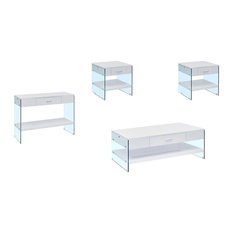Modern 4-piece Coffee, End, and Console Table, White