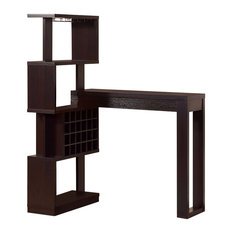 Well- Designed Bar Table With Wall Unit With Wine Rack Brown