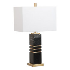 Jaxton Table Lamp, Black, Gold Body with Off-White Shade