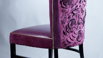 Leather Chair Sculpture in Purple