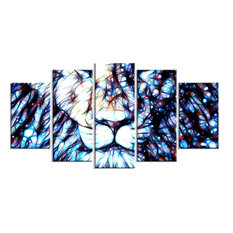 """""""Leader of the Pack"""" Lion Art on Canvas, 5 Piece, 60""""x32"""""""