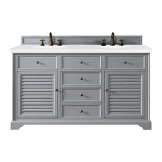 "Savannah 60"" Double Vanity Cabinet, Urban Gray, 3CM Snow White Quartz Top"