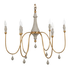 Gabby Clay 6-Light Gold and Ivory Chandelier