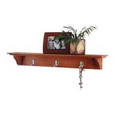 Traditional Shelf w Oak Finish & 3 Metal Hooks - Yorkshire
