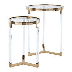 Nakasa Verrill Acrylic and Glass Tables, Set of 2