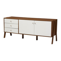 Harlow Wood Sideboard Storage Cabinet Walnut Brown And White
