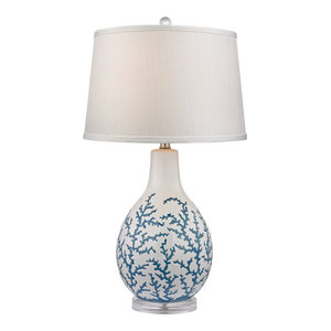 Elk Sixpenny Blue Coral Table Lamp D2478, Pale Blue, White
