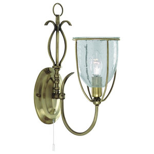 Silhouette Single Light Antique Brass Wall Light Clear Seeded