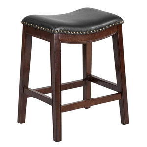 Mid Century Upholstered Backless Saddle Counter Stool