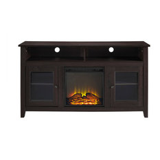 "58"" Wood Highboy Fireplace TV Stand, Espresso"
