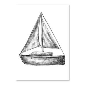 """""""Bw Sailboat 18X24 01,"""" Art Print, 12""""x16""""x0.1"""""""
