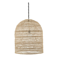 Luhu Open Weave Cane Rib Cloche-shape Pendant Lamp, Natural