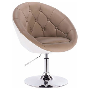 Modern Bar Stool Upholstered, Faux Leather With Tufted Buttons, Khaki and White