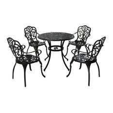GDF Studio 5-Piece Zona Outdoor Cast Aluminum Dining Set, Shiny Copper