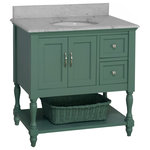 """Kitchen Bath Collection - Beverly Bath Vanity, Base: Sage Green, 36"""", Top: Carrara Marble - The Beverly: timeless and functional."""