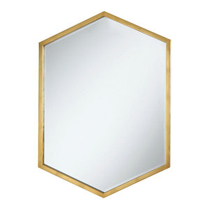 Coaster Accent Mirrors Hexagon Shaped Mirror With Gold Frame