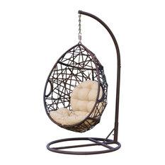 Broadway Outdoor Wicker Tear Drop Hanging Chair, Multi-Brown, Brown, Tan