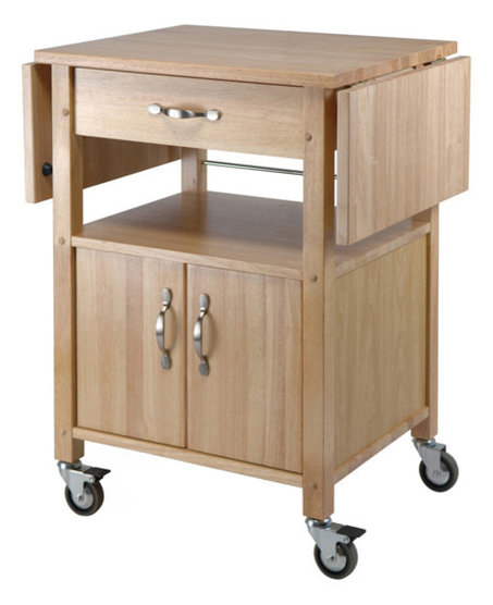 Double Drop Leaf Kitchen Cart With Cabinet And Shelf