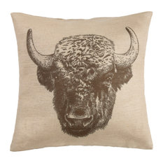 "Buffalo Burlap Pillow, 22""x22"""