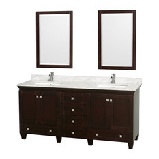 "Wyndham Collection 72"" Acclaim Espresso Double Vanity With White Porcelain Sink"