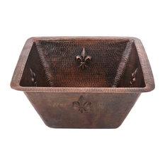 """Premier Copper Products 15"""" Square Fleur De Lis Copper Bar/Prep Sink, 2"""" Drain"""