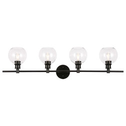 Transitional Bathroom Vanity Lighting Black Finish And Clear Glass 4-Light Wall Sconce