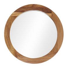 Teak Round Wall Mirror, 50 cm