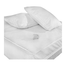 Permashield Antibacterial Extra Strength Basic Bed Protector Set, White, Queen