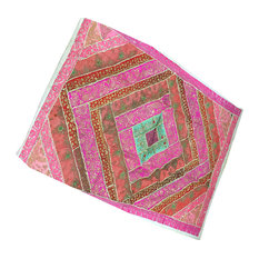 Mogul Interior - Exotic Pink Vintage Sari Wall Hanging Patchwork Tapestry Decor India Art - Tapestries