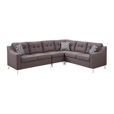 Kayla 4-Piece Linen Fabric Tufted L-Shaped Living Room Sectional, Gray