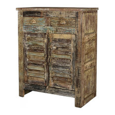 42-inch T Tranquillino Cabinet Distressed Paint Finish Hand Crafted Old Teak Wood