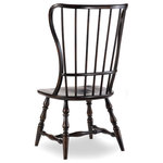Hooker Furniture - Sanctuary Spindle Side Chair, Ebony - Whether pulled up to the dining table or incorporated in your living room design, the Sanctuary Side Chair adds charming style and a dose of country-inspired character to your space.