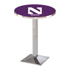 L217 - 42-inch Chrome Northwestern Pub Table By Holland Bar Stool Co.